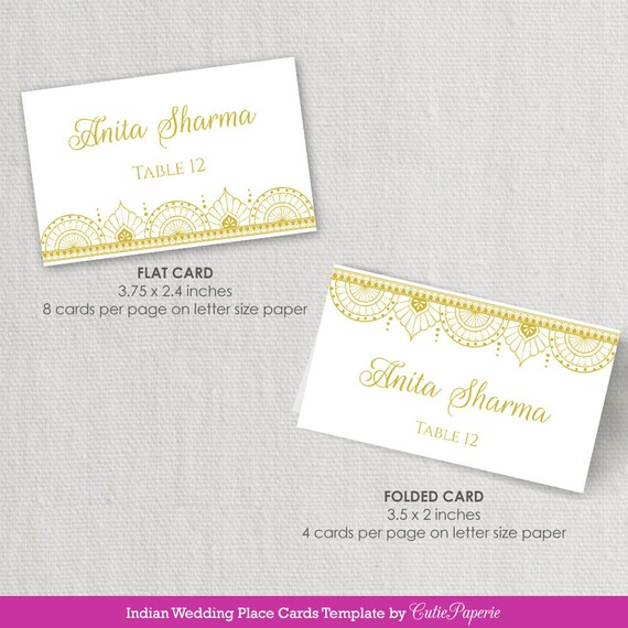 Wedding Place Cards Printable Diy Wedding Place Card Indian Etsy