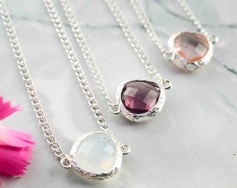 Necklace Minimalist Crystal glass birthstone pendant - Delicate necklace for her - Silver necklace women - for everyday use - Discreet