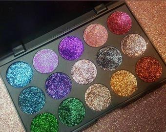 Customize 15 pressed glitter pan palette