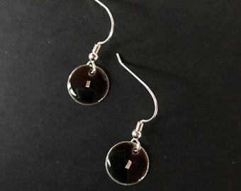 45a78536caaee Black enamel earring   Etsy