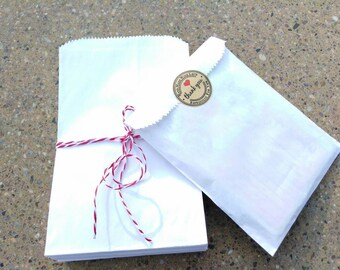 50 5x7 1/2 Solid White Kraft Paper Bags. Gift Bags. Flat Merchandise bags. Plain White Paper Bags. Candy bags.