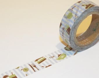 Let's Eat and Drink Japanese Washi Tape. 15mmx10m. Pretty Tapes. Scrapbook tape.