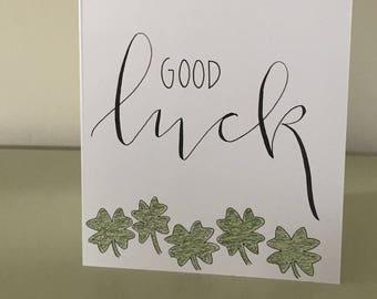 Good Luck / custom calligraphy card