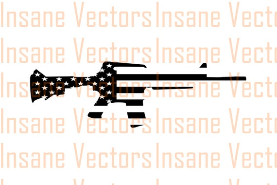 American Flag Rifle Silhouette Clip Art Image Rifle Vector Etsy
