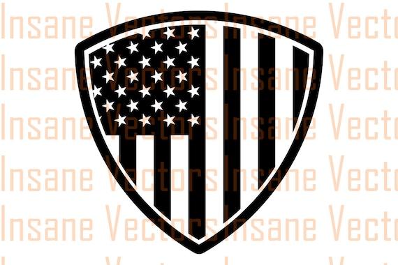 American Flag Shield Silhouette Clip Art Image Shield Vector Etsy