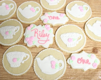 TEA PARTY Shabby Chic Girl Birthday Customizable Sugar Cookies