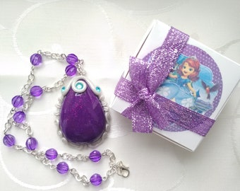 Princess Sofia Inspired gift Girl Necklace- Sofia Amulet- Sofia The First Necklace + gift box with a personal inscription.