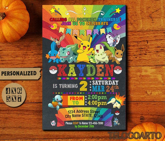 Pokemon Invitation Birthday