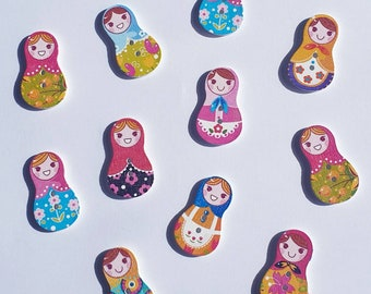 10 pcs Wood Russian Doll Nesting Dolls Painted Mixed Assorted Patterns Retro Buttons 30mm 3cm BT2400