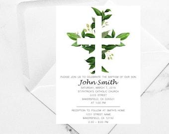 Greenery Baptism Invitation, Neautral Baptism Invitation, Unisex Baptism, Boy First Communion, Unisex Communion, Christening Boy, invitacion