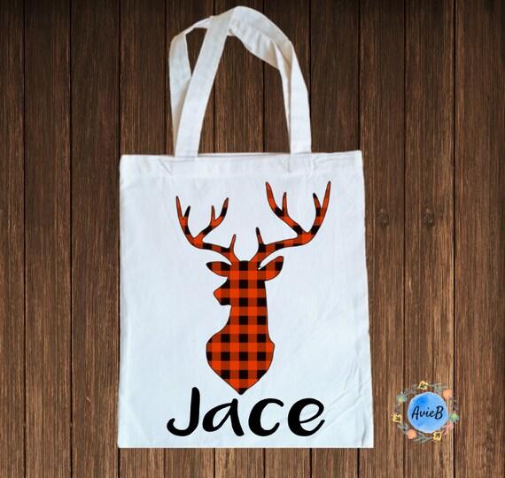 Personalized Buffalo Plaid Tote Bag Daycare Overnight