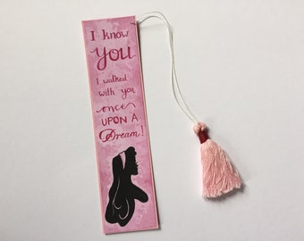 "Disney bookmark ""Sleeping Beauty""/mittel with handmade pink tassel/Sleeping Beauty/pink/gift for readers"