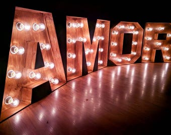 "40"" giant marquee letters Large Amore letters with lights amor signs large wedding letters Large wooden letters rustic barn wedding decor"