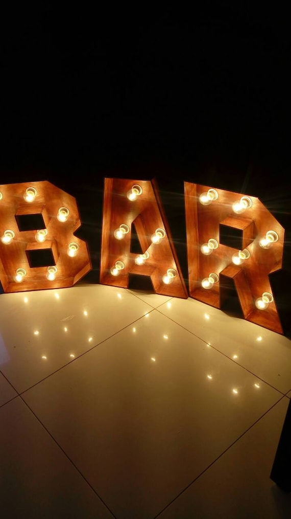 Bar sign lights marquee light up letters bar for wedding beer etsy image 0 aloadofball Image collections