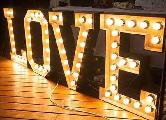 Large Marquee Love Letters Wedding Light Big Wooden Love Sign Etsy