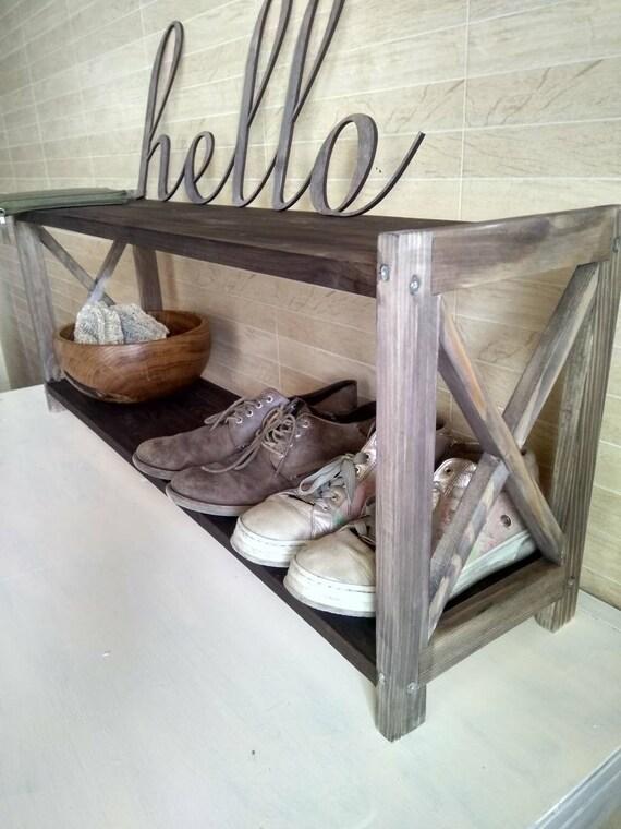 Banc bois rustique de récupéré chaussure rack chaussure PuwOkTXZi