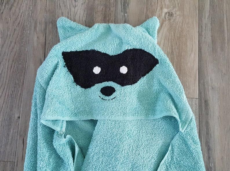 Racoon Hooded towel,hooded animal towel for babies toddlers kids.teal hooded bath towel,childrens birthday gift,PERSONALIZED hooded towel