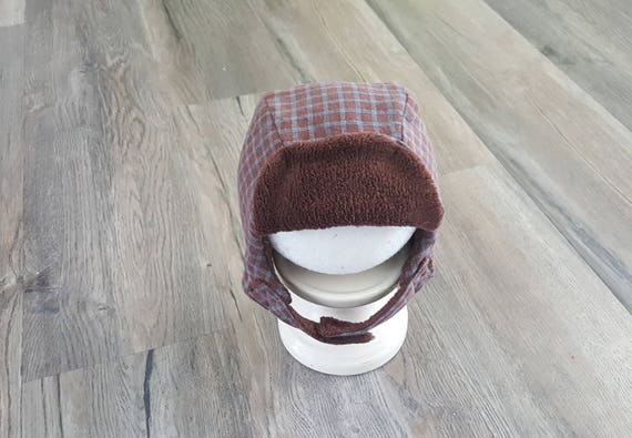 Kids winter hat Flannel hat with earflaps burnt red plaid  25033e32791