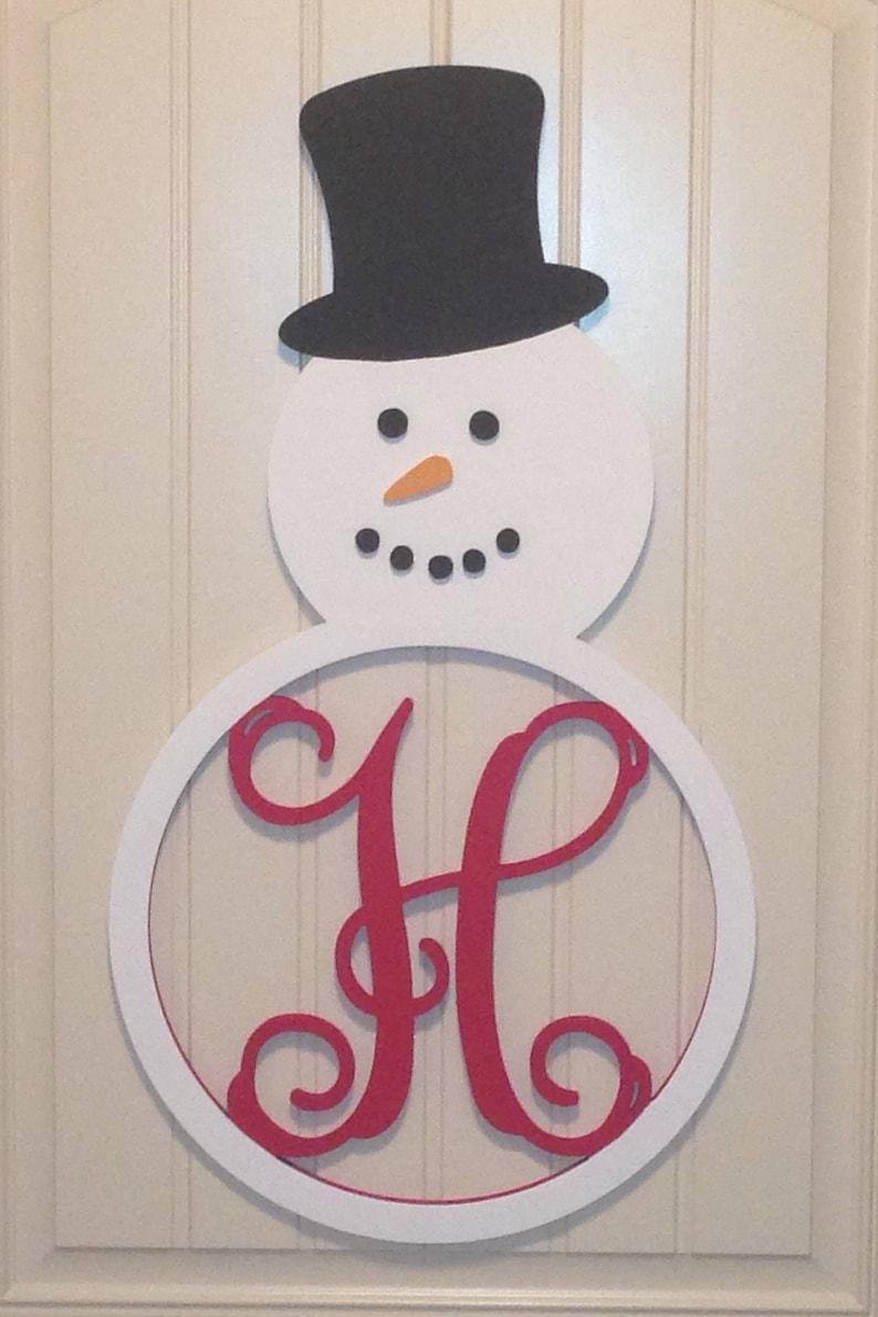 Snowman Monogram Door Hanger Wall Art Winter Christmas Holiday Home Decor M