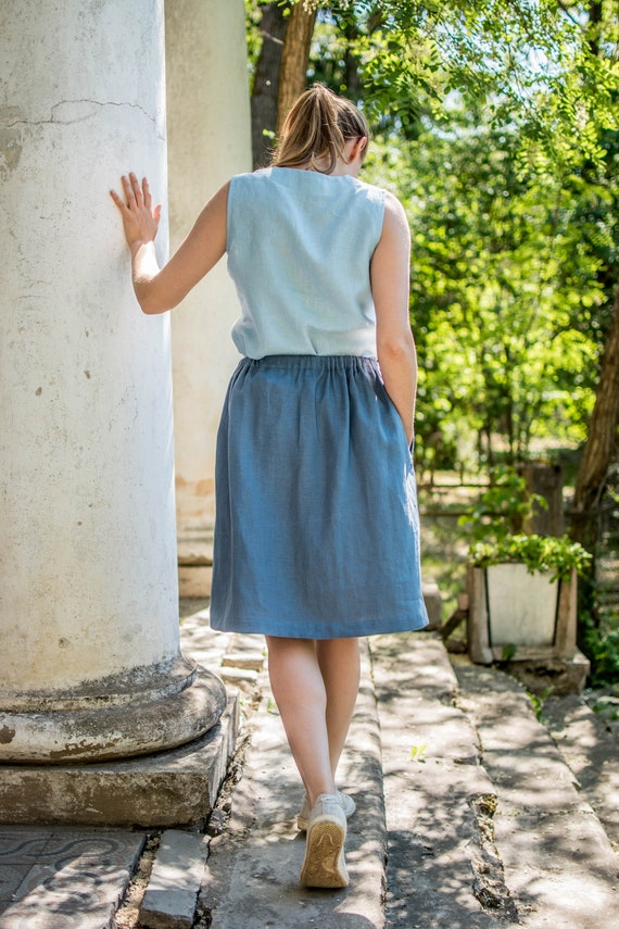 Women linen colors Women pockets clothing Casual Skirts skirts linen skirts with blue skirts Flax Skirts Skirts skirts Natural More Grey USqPOw5B