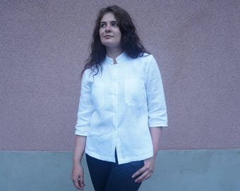 Linen shirt, White linen shirt, linen top, linen blouse, white linen blouse, white linen top, shirt, top, blouse, Fancy blouse,