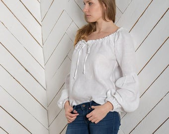 White linen top,  White linen blouse, Long sleeves,  Summer linen top, Summer linen shirt, Linen tunic, White top, Blouse