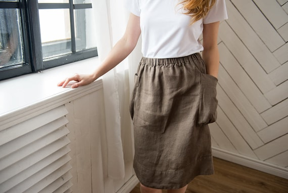 Linen Brown with skirts pockets More with Cacao Linen pockets skirts Flax Skirts skirts Oversize skirts Women colors linen clothing Skirts Bwnr0pBqx4