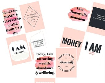 Set of 12 inspirational and motivational financial abundance affirmation cards for female entrepreneurs