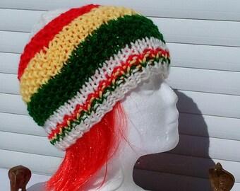 Rasta White hat, white rasta hat.