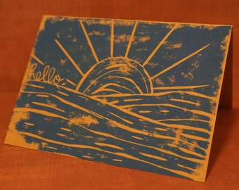Hand Printed Greeting Cards 3-ct