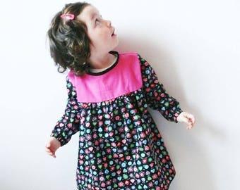 Dress or tunic black Folk girl and fuchsia