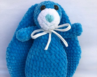 Easter bunny toy Plush easter bunny rabbit Easter gift Easter decor Nursery decor Happy easter Toy bunny Blue bunny Crochet stuffed animal
