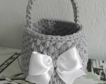 Crochet basket T-shirt yarn basket Soft basket Gray basket