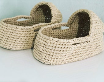 Set of 2 doll baskets 18.5 inches baby doll moses basket Crochet soft basket Doll bedding Christmas gift Reborn doll basket Doll carrier