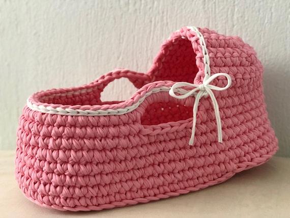 Baby puppe stubenwagen häkeln puppe moses korb rosa baby etsy