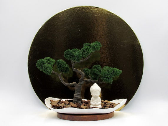 Mini Zen Garden Buddha Statue Bonsai Tree Office Desk Plant Etsy