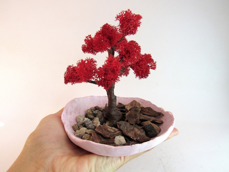 Red Bonsai tree Desktop decor, Artificial bonsai indoor garden coworker  gifts for wife Office gifts
