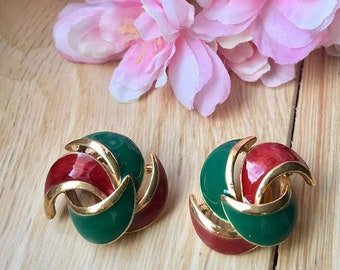 VINTAGE manufacturing SPHINX - leaves clip earrings red and green
