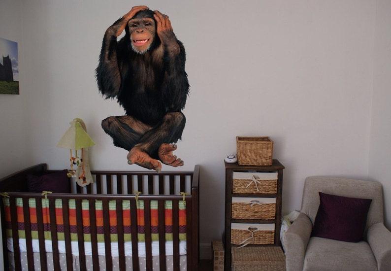 Monkey Full color sticker Monkey Chimpanzee Full Color Decal wall art cn 022