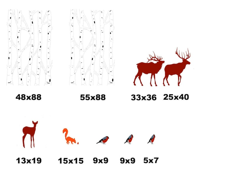 Birch Tree theme Birch Tree decor Deer stickers 110x90 Deer and Birch Tree decal Tree stickers Living Room Birch Tree decal abc9