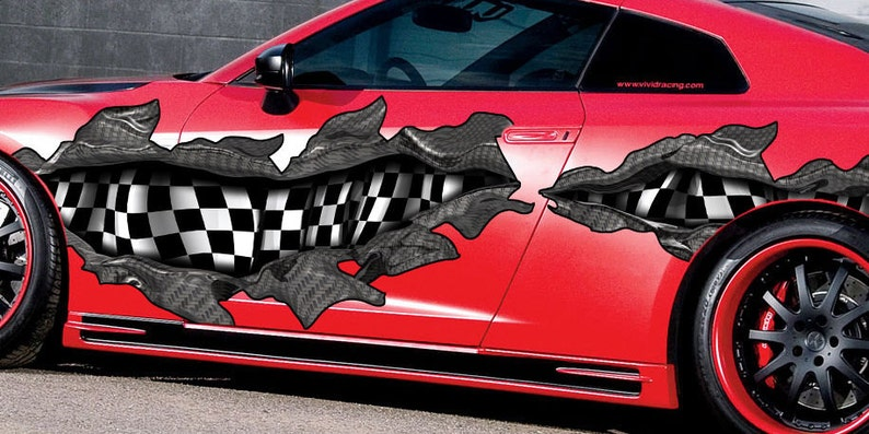 Checkered Flag Full Color Car Vinyl Design zkk/_2 Car Vinyl racing Car Decal