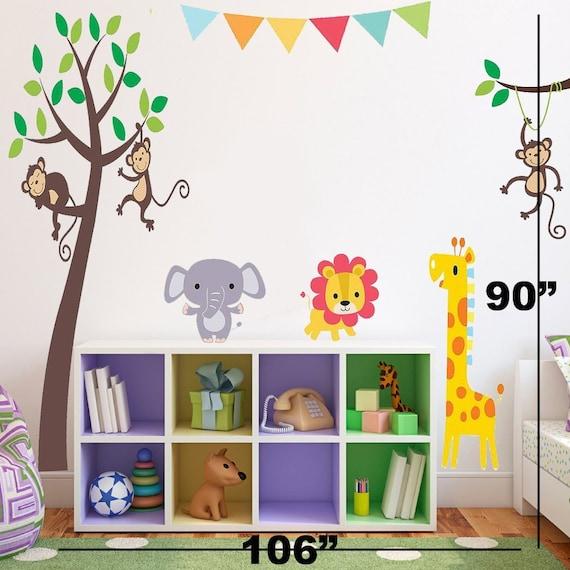 jungle theme stickers jungle wall decor jungle decor for | etsy