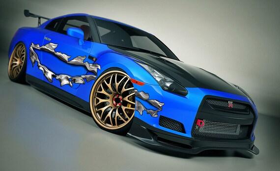 Ripped Metal Full Color Car Vinyl Design Racing Car Decal Etsy