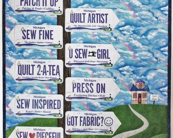 Applique quilt pattern for fabric license plates / row by row