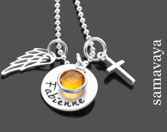 Name Chain Communion GLANZVOLL 925 Silver Chain with Cross and Angel Wing Gift Confirmation Communion Consecration Youth Consecration
