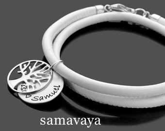 Name Bracelet rooted nappa 925 silver leather bracelet life Tree Engraving