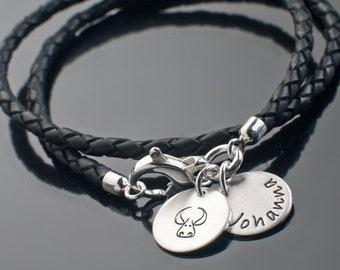 Lederarmband 2-IN-1 ROLL GOLD Damenarmband mit Gravur Lederschmuck Freundschaftsarmband Partnerarmband Armband mit Gravur Leder samavaya