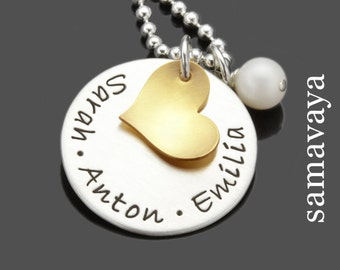 Name chain MY LOVED ONES gold 925 Silver jewelry with engraving family chain