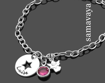 TAUFE ARMBAND ENGELCHEN star BAPTISMOTH With Engraving of 925 Sterling silver Name-finger Star Monthly Stone Baptismary band baby by samavaya