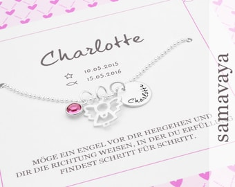 Baptism chain my Angel BIRTHSTONE 925 Silver necklace with gift box gift